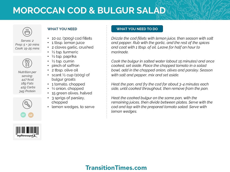 MOROCCAN COD & BULGUR SALAD