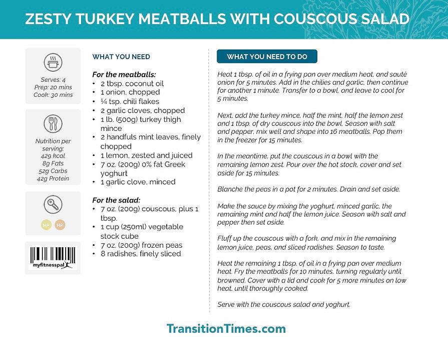 ZESTY TURKEY  MEATBALLS WITH COUSCOUS SALAD