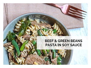 BEEF & GREEN BEANS PASTA IN SOY SAUCE