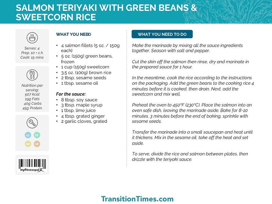 SALMON TERIYAKI WITH GREEN BEANS & SWEETCORN RICE