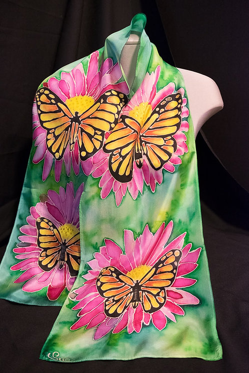 "030 Monarch Butterfly Scarf  60"" x 8"""