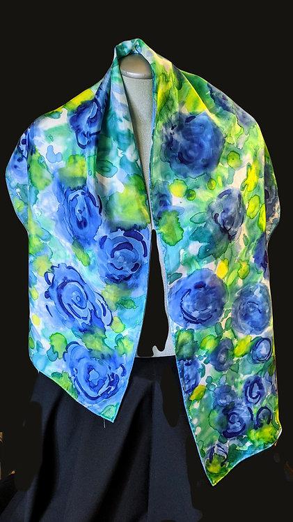 207 Blue Roses Silk Scarf