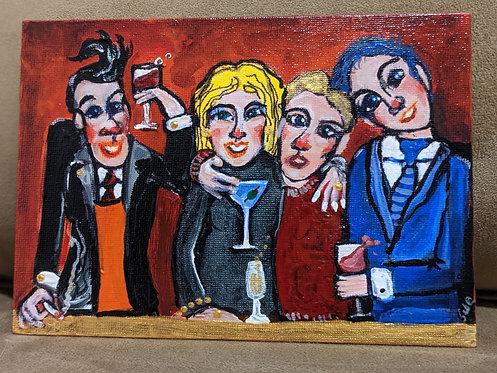 "229   Canvas: "" At the bar "" 8 x 10"