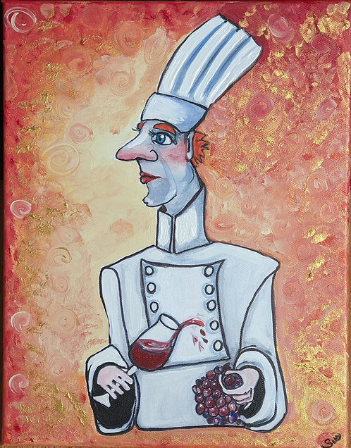 """230  Sometimes I cook with wine  Canvas 14"""" x 18"""""""