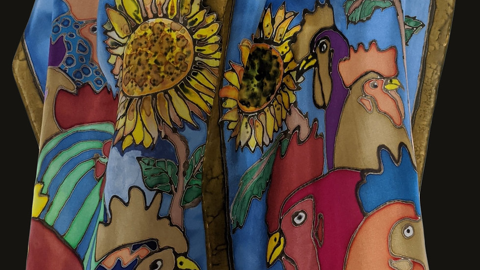 """135 Cockerals and Sunflowers 60"""" x 11"""""""