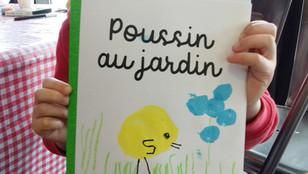 """Que s'est-il passé ce printemps? """"Poussin au jardin"""" à la médiathèque de Mazamet."""