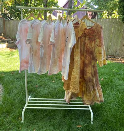 Botanically Ice Dyed T-shirts ($45) Yellow Dress ($65), Multicolored Dress ($75)