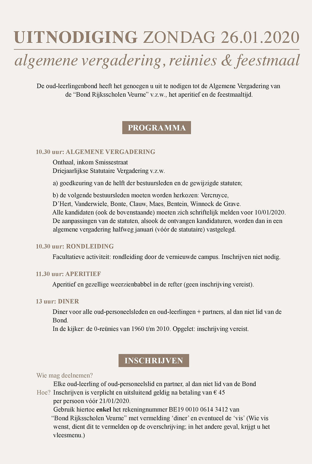 uitnodiging reünie etentje bond atheneum Veurne 9-promoties