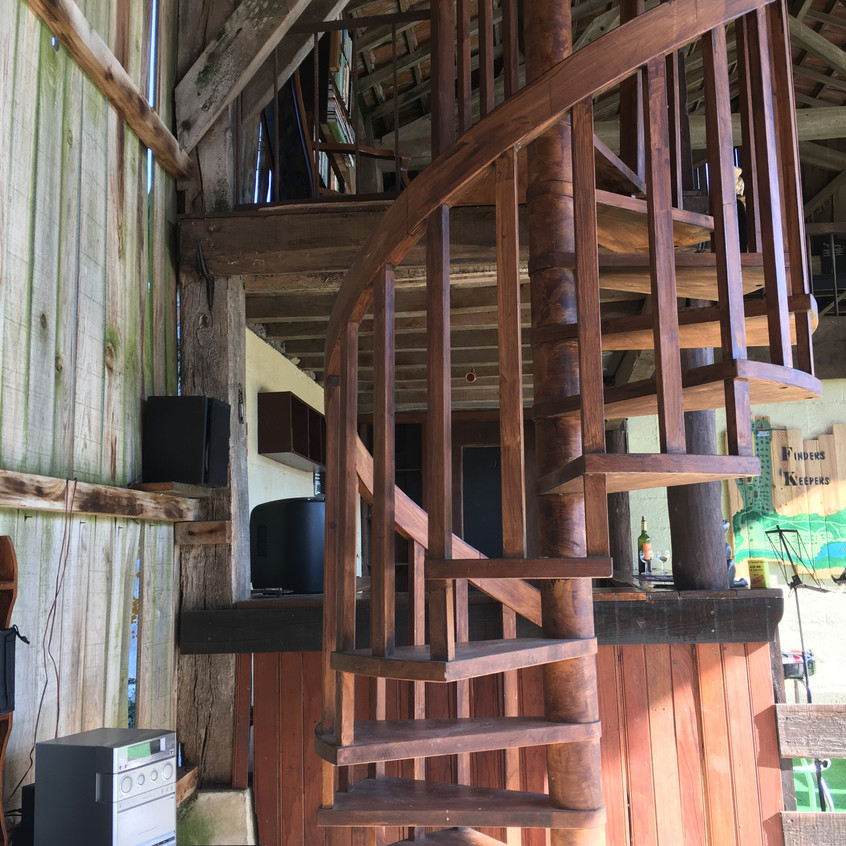 Spiral staircase to the games room