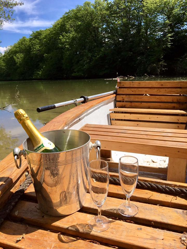 Champagne on the boat