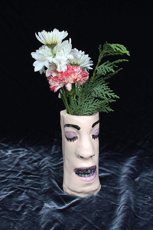 Vase Face- Purple Eye, Purple Lip