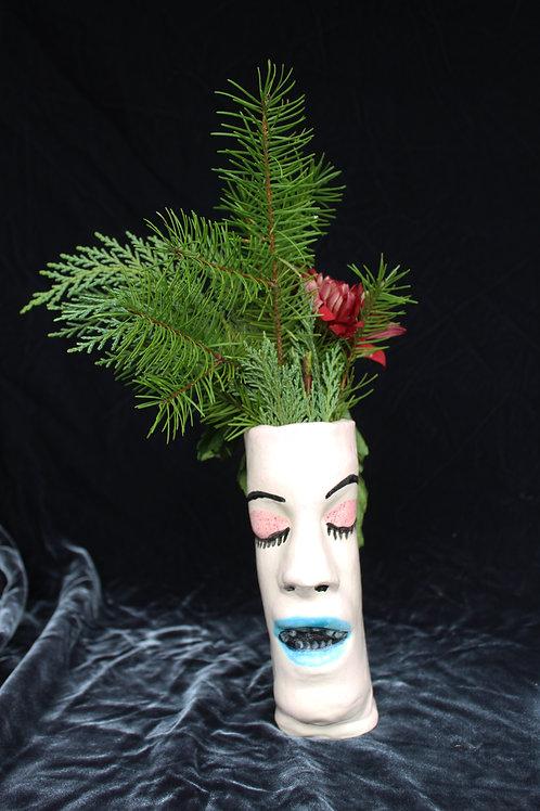 Vase Face-Pink Eye, Blue Lip