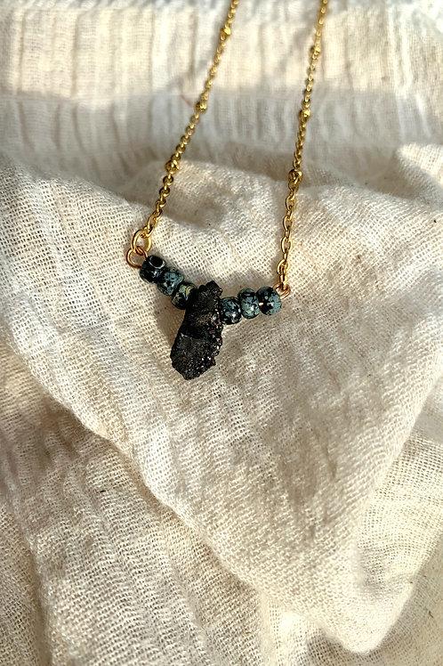 Crystal Quartz met kralen (zwart)