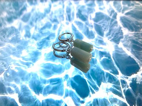 Zilvere oorbellen met blauwe natuurstenen