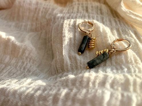 Gouden oorbellen met zwart natuursteen en gouden ringentjes