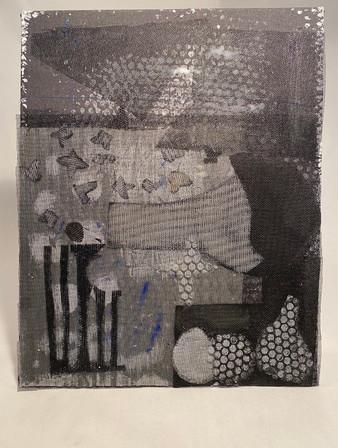 "SCREEN STILL LIFE plastic screen on canvas 16""x20"""
