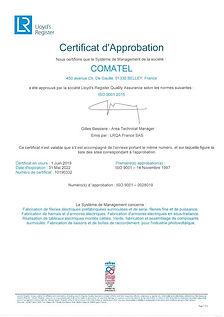 CERTIFICAT ISO V2015 COMATEL FRANCAIS VA