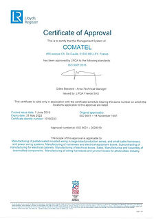 CERTIFICAT ISO V2015 COMATEL ANGLAIS VAL