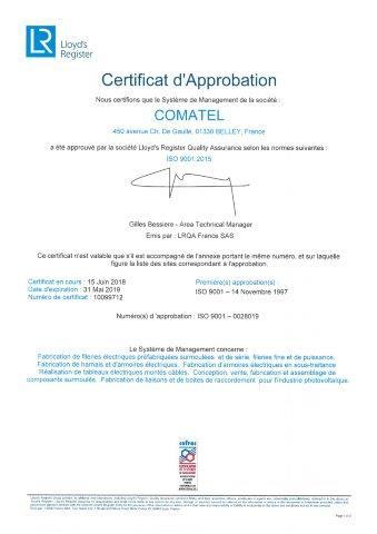Certificat d'approbation ISO 9001:2015   COMATEL