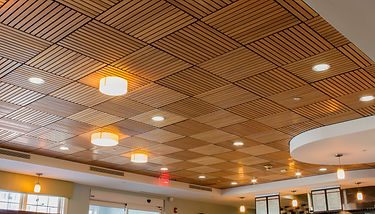 wood ceiling, acoustical ceiling