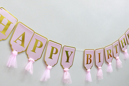 שרשרת ורודה HAPPY BIRTHDAY