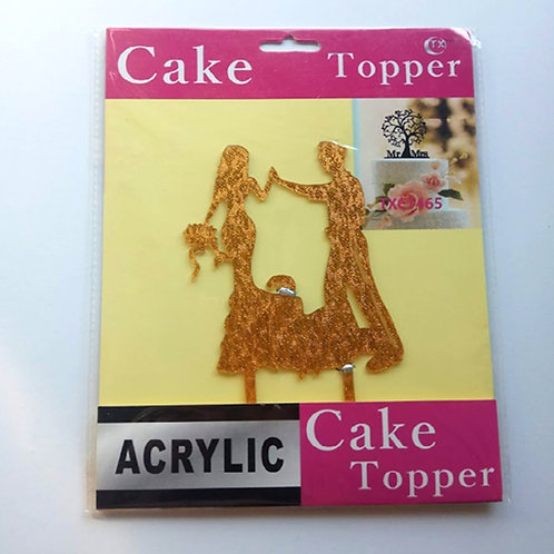 קישוט לעוגה- זוג זהב