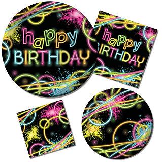 סט כלי הגשה חד פעמי בקונספט מסיבה Happy Birthday