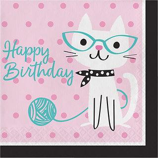 סט כלי הגשה חד פעמי בקונספט חתולים Happy Birthday