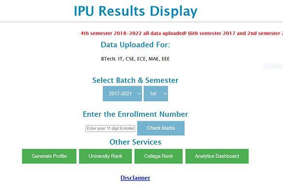 IPU Result Website