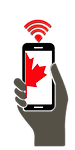 Stay connected and enjoy our premium plans. Canadian cellular phone with a cellphone signal beaming out.