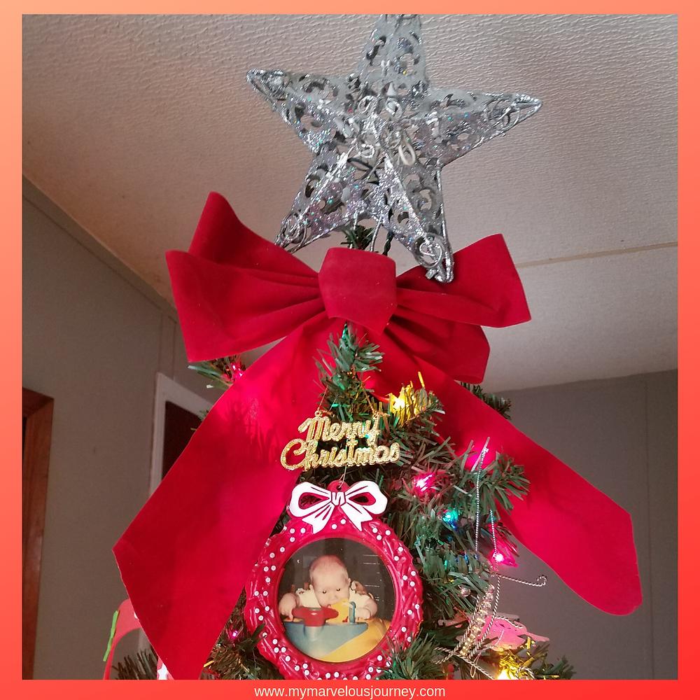 Silver star on Christmas tree