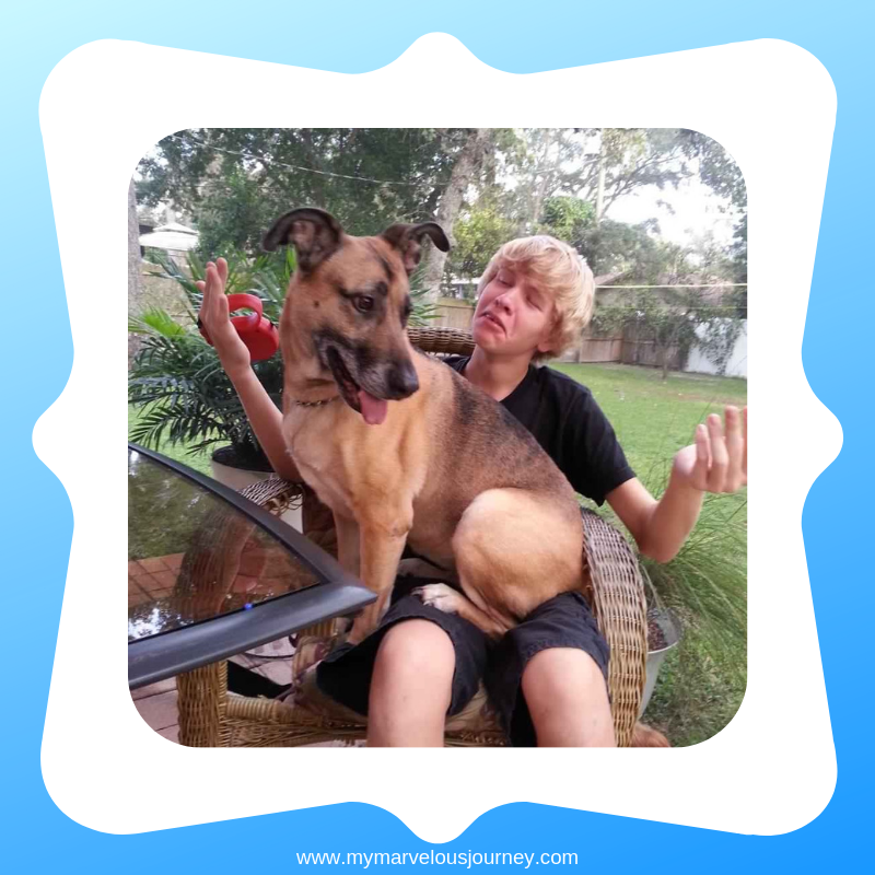 Erik Hoxie and his dog Janie
