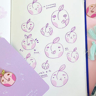 #marchmeetthemaker day 9 ✨✨ is how it's made! Most of my designs start off as concept in my sketchbook like my peachy pin, most of the time_