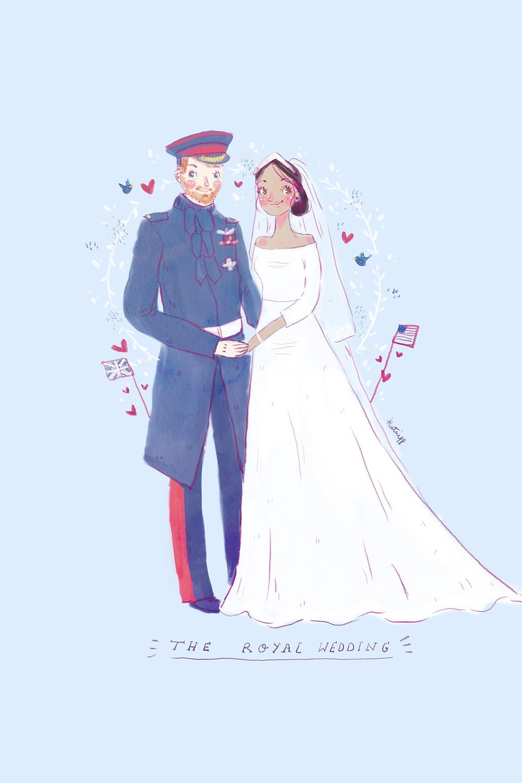 Prince and Princess Illustration - The Royal Wedding - Prince Harry - Megan Marckle