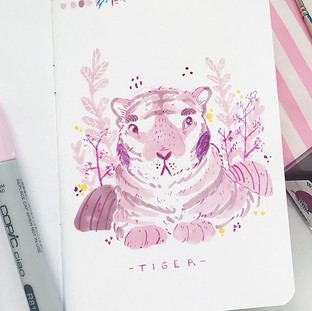 🙋🏼‍♀️ I'm totally already late to this challenge but I'm doing _ellolovey doodle a day Feb challenge (more like attempting) Day One_ Tiger 🐅