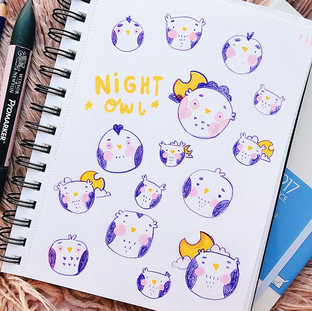Sketchbook Idea Draughting for a new Night Time pin range 🙈🙈💖 I am definitely a night owl 🦉 I've totally gave up trying to be a morning pers