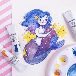 Tried gouache for the first time ever for today's #mermay the theme was stars! 😰 hahahha it was a little bit of a fail guys - the colours tu