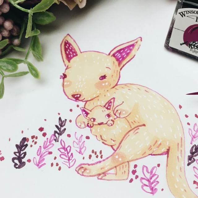 🌸🌸 Today's Inktober Challenge was_ Jump, well what other animal was it bound to be other than the kangaroo 💁🏻 _Red Kangaroos are the largest