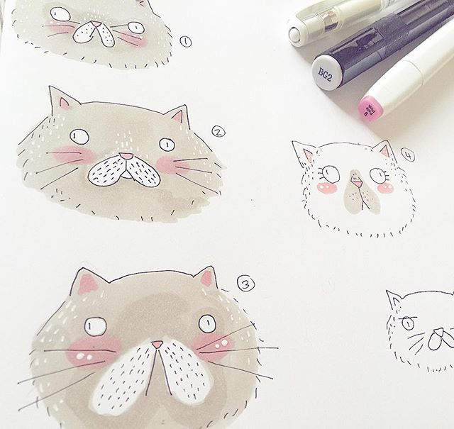 I need Opinions! Which Persian Cat does everyone Like Best_! #cat #illustration #illustrator #etsy #etsyseller #etsyuk #etsyartist #etsyhand