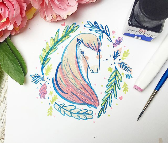 Today's #inktober is Transport! 🐴🐴 obviously it had to be a Horse! 😍❤️ __Horses have four speeds called gaits