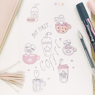 Sketching some ideas for new pins to show my love of coffee 😂🤦🏼♀️☕️ COFFEE I LOVE YOU