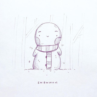 Didn't bring any drawing equipment with me today 🙈😂 so I adapted and overcame and doodled this little chilly snowman with good old copy pape