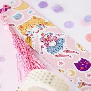 Moon prism power 😍🙌🏻✨✨💖 I have some new amazing usagi goodies now available in my shop including this Metal book mark with cute pink tassel_