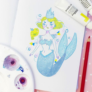 #mermay day three was frosting 💖🙌🏻 just a quickie this time! A digital painting over my sketchbook doodle 🙏✨🙌🏻