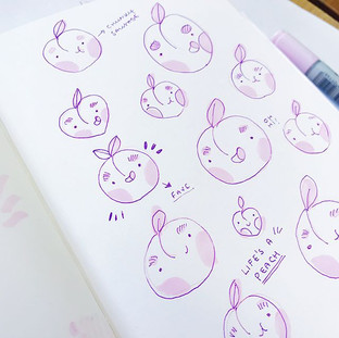 Peachy butts 😍✨ sketching some new Pin ideas for my Life's a Peach range! I already know which is my fave!_ Which is yours_!