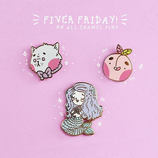 FIVER FRIDAYS 😍🙌🏻💖 Hehe grab my enamel pins for just £5 for today only wahooo! In my Etsy store now 😱🙌🏻😮 (link in bio) 🙊