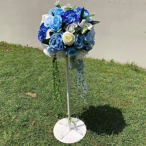 blue & white flowers stand .