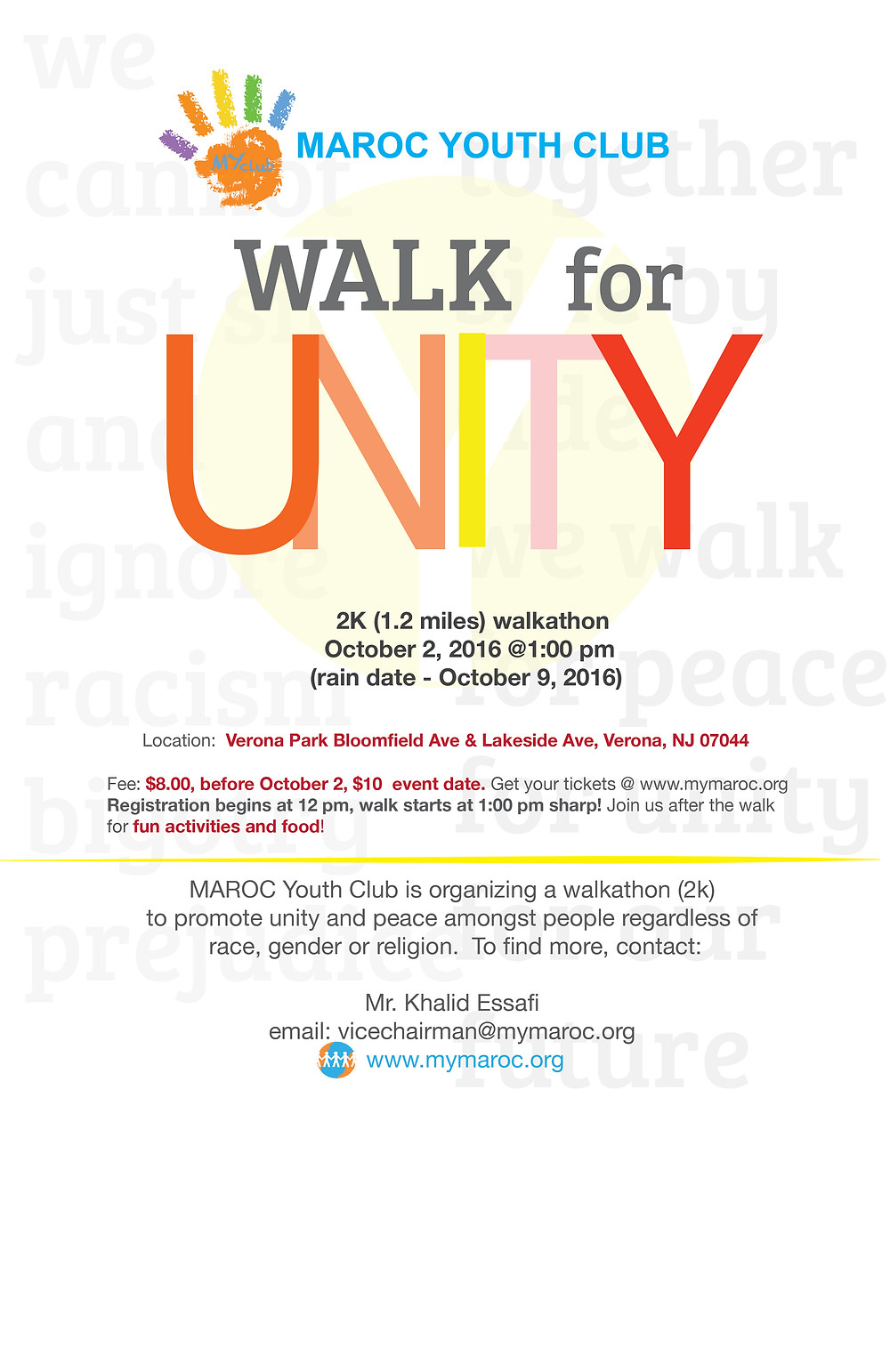 Please join us in this Walkathon for Unity & Peace. Ready to get your tickets? Click here