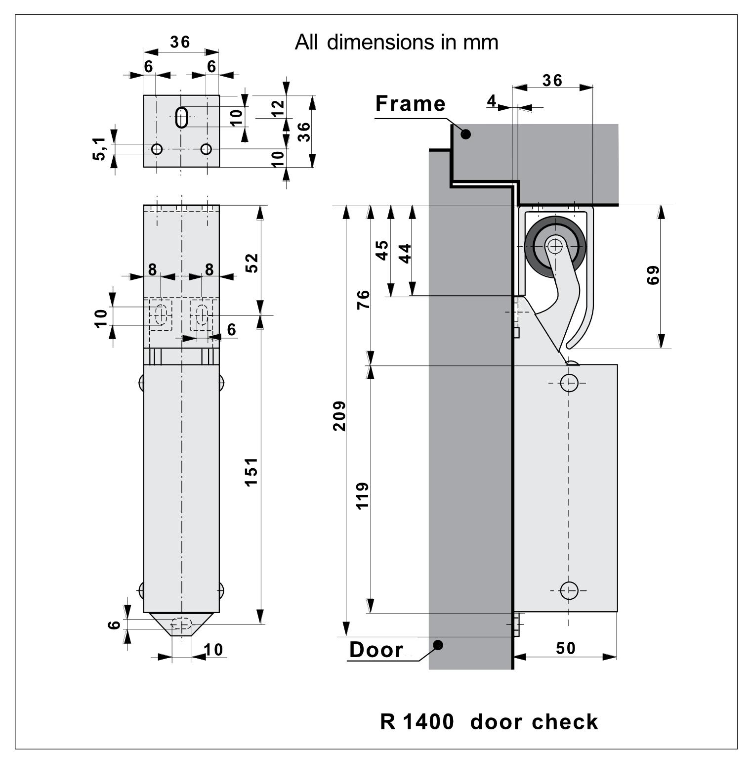 DD14 Door Damper Dimensions
