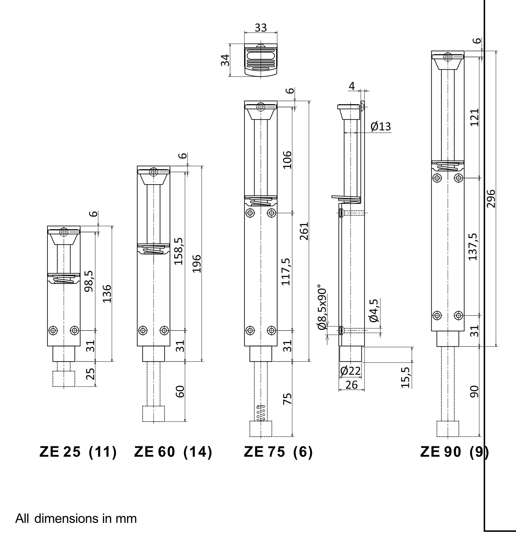 ZE Door Holder Dimensions